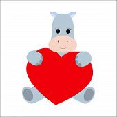 Hippo holding a heart on a white background