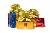 Color gifts with golden bow