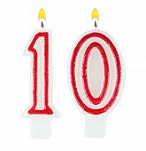 Birthday Candles Number Ten Isolated