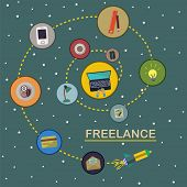 Freelance Workflow Concept. Set Of Flat Icons