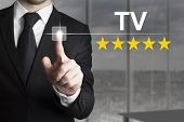 Businessman Pushing Button Tv Star Rating