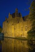 Dijver Canal In Bruges At Night