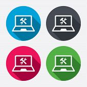 Laptop repair sign icon. Notebook service symbol