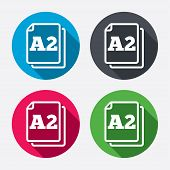 Paper size A2 standard icon. Document symbol.