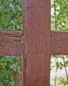 cross shaped wood junction closeup