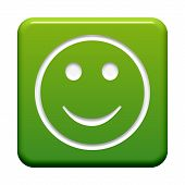 green Button with Icon: Happy