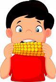 Cartoon boy eating corn
