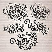 Winter hand lettering set