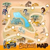 Постер, плакат: Africa Safari Map Wildlife