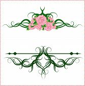 Calligraphic Design Elements With Roses