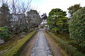 Entrance Sign Stone Walkway In Tenryu-ji Temple Area, Japan,