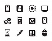 Silhouette Computer and mobile phone elements icon