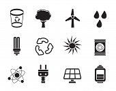 Silhouette Ecology, energy and nature icons
