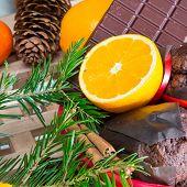 Close up maffins, oranges and chocolate