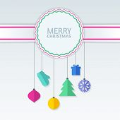 Abstract Colorful Vector Baubles On Badge. Christmas Or New Year Background. Concept For Greeting Ca