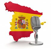 Microphone and Spain (clipping path included)