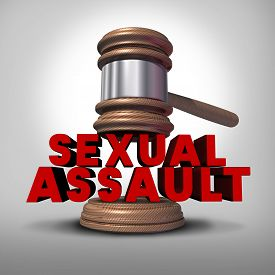 stock photo of groping  - Sexual assault concept and rape crime symbol as a legal court judge mallet hitting a three dimensional text as an icon of sex violence harassment and criminal physical contact - JPG