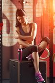 picture of sportswear  - Attractive muscular woman of European appearance - JPG