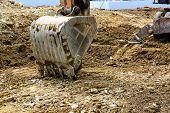 stock photo of bulldozer  - Close up of Digger excavator bucket bulldozer - JPG