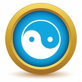 picture of taoism  - Gold Taoism icon on a white background - JPG