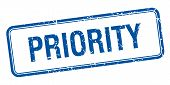 foto of priorities  - priority blue square grungy vintage isolated stamp - JPG