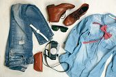 stock photo of woman boots  - Still life of casual woman - JPG