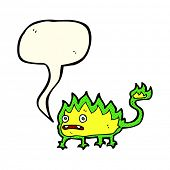 stock photo of demons  - cartoon little fire demon with speech bubble - JPG
