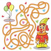 pic of clowns  - Maze game for kids Help the clown to get to the balloons - JPG