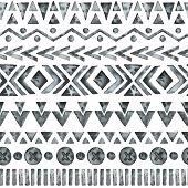 image of aztec  - Ethnic watercolor seamless pattern - JPG