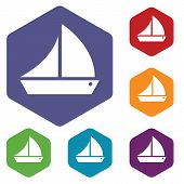 stock photo of brigantine  - Ship rhombus icons set in different colors - JPG