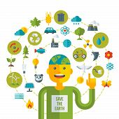 stock photo of save earth  - Creative concept of Ecology Science - JPG