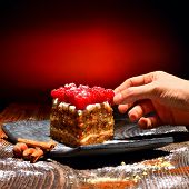 stock photo of pound cake  - Raspberry Cake on plate - JPG