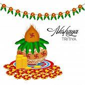 picture of kalash  - illustration of  mangal kalash for Akshaya Tritiya celebration - JPG