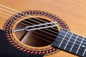 picture of tuning fork  - Music tuning fork on acoustic guitar metal strings - JPG