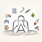 stock photo of addict  - addict man and set of addiction symbols outlined vector sketch - JPG