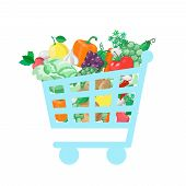 picture of grocery cart  - Shopping cart with  fresh and natural food  concept - JPG