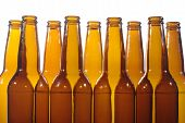 stock photo of liquor bottle  - empty after beer standing in line bottles - JPG