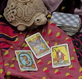 image of satan  - Classic Tarot cards on a desk for telling the future - JPG