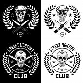 picture of brass knuckles  - Vector illustration street fighting club emblem with skull brass knuckles bats knives chain and cap - JPG