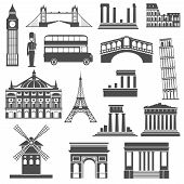 picture of bobbies  - World travel famous places and monuments black icons set with arc de triumph abstract isolated  vector illustration - JPG