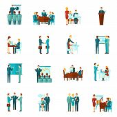 foto of business class  - Business training conference and presentation flat icons set isolated vector illustration - JPG