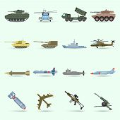 stock photo of tank truck  - Army icons set with tank submarine military airplane isolated vector illustration - JPG