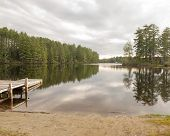 picture of dock a lake  - Relaxing view of lake - JPG