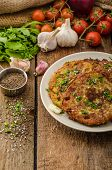 picture of cumin  - Fried potato pancakes with garlic and marjoram sprinkled cumin chive and coarse - JPG