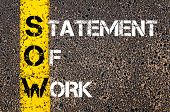 picture of statements  - Business Acronym SOW as Statement of Work. Yellow paint line on the road against asphalt background. Conceptual image - JPG