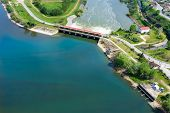 stock photo of dam  - Aerial view of the artificial lake Kerkini and river Strymon with dam at the north Greece - JPG