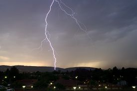picture of lightning-rod  - Thunderbolt of lightning at night during a thunderstorm - JPG