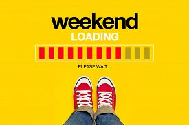 stock photo of friday  - Weekend Loading Content with Young Person Wearing Red Sneakers from Above Standing in front of Loading Progress Bar waiting for the End of the Week Top View - JPG