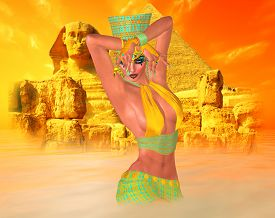 foto of sandstorms  - Egyptian woman in desert sandstorm with sphinx and ancient ruins in the background - JPG