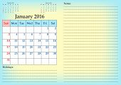 Постер, плакат: Business Calendar Grid For 2016 Year By Months January